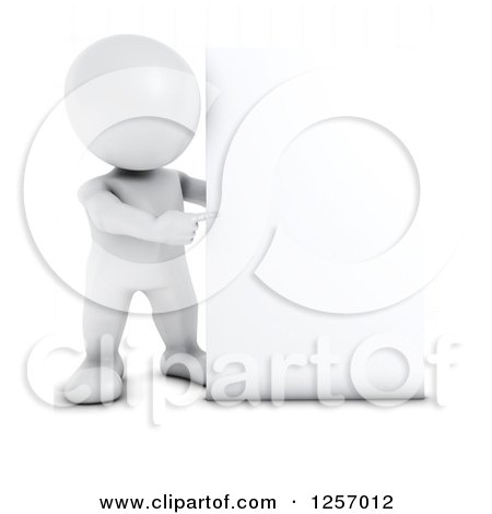 Clipart of a 3d White Man Pointing Around a Blank Sign - Royalty Free Illustration by KJ Pargeter