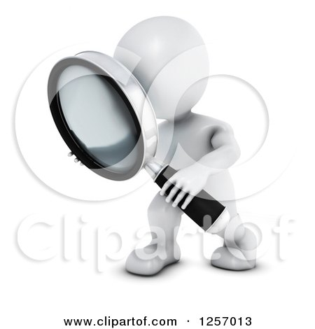 Clipart of a 3d White Man Searching with a Magnifying Glass - Royalty Free  Illustration by KJ Pargeter