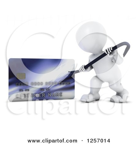 Clipart of a 3d White Man Using a Pry Bar to Hack into a Credit Card Account - Royalty Free Illustration by KJ Pargeter