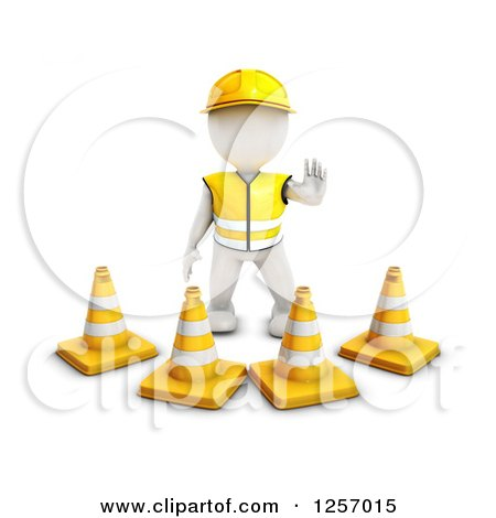 Clipart of a 3d White Man Construction Worker Standing Behind Cones - Royalty Free Illustration by KJ Pargeter