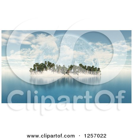 Clipart of a 3d Tropical Island with Palm Trees and a Fictional Planet - Royalty Free Illustration by KJ Pargeter
