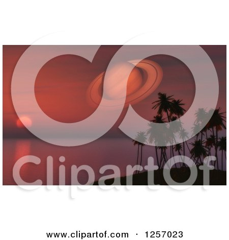 Clipart of a 3d Red Sunset Sky with Planet Saturn and Silhouetted Palm Trees - Royalty Free Illustration by KJ Pargeter