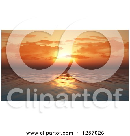 Clipart of a 3d Orange Sunset Sky over an Ocean - Royalty Free Illustration by KJ Pargeter