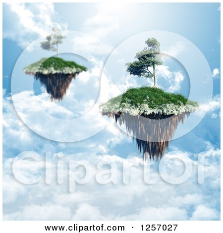 Clipart of 3d Floating Islands with Trees over Clouds - Royalty Free Illustration by KJ Pargeter