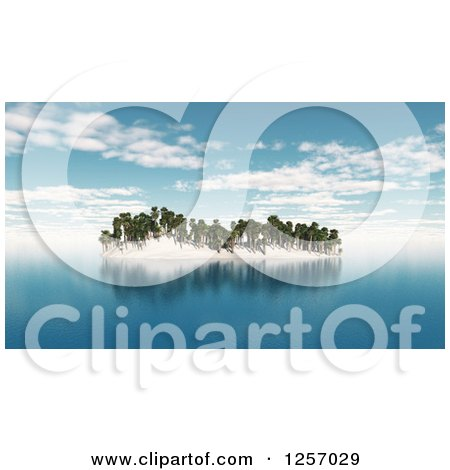 Clipart of a 3d Tropical Island with Palm Trees - Royalty Free Illustration by KJ Pargeter