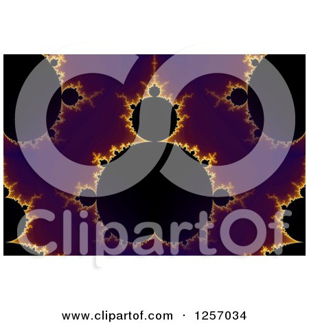Clipart of a Seamless Purple Gold and Black Mandelbrot Fractal Background - Royalty Free Illustration by oboy