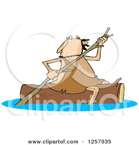 Clipart of a Caveman Rowing a Log down a River - Royalty Free Vector Illustration by djart