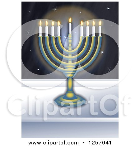 Clipart of a Chanukah Menorah in a Window at Night - Royalty Free Illustration by Prawny