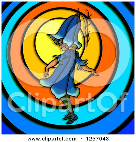 Clipart of a Blue Bell Flower Girl over Colorful Circles - Royalty Free Illustration by Prawny