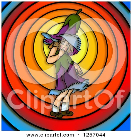 Clipart of a Gentian Flower Girl over Colorful Circles - Royalty Free Illustration by Prawny
