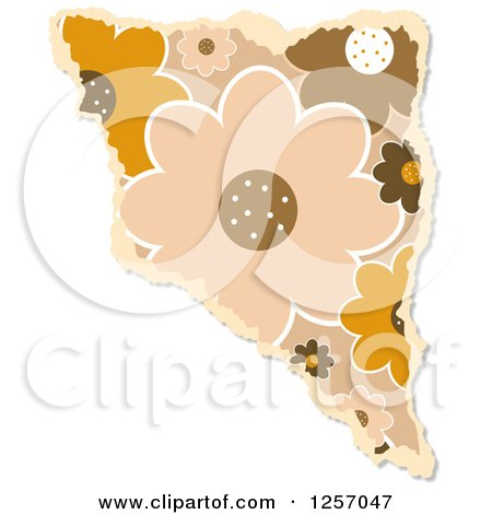 Clipart of a Torn Piece of Brown Floral Scrapbooking Paper, on White - Royalty Free Illustration by Prawny