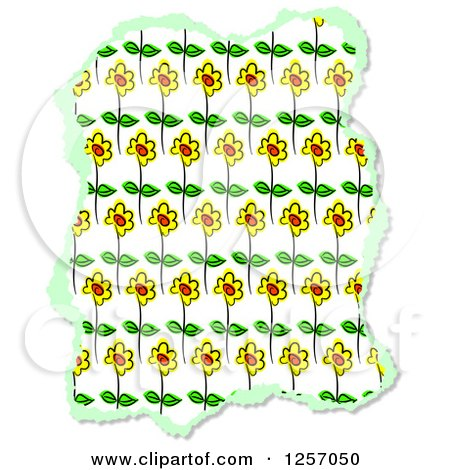 Clipart of a Torn Piece of Sunflower Scrapbooking Paper, on White - Royalty Free Illustration by Prawny