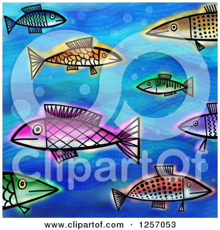 Clipart of a Background of Colorful Painted Fish on Blue - Royalty Free Illustration by Prawny