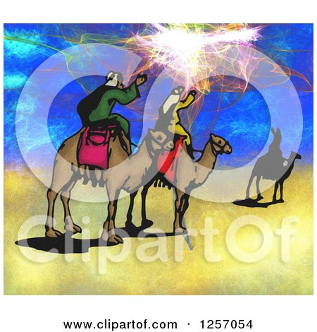 Clipart of Christmas Wise Men and Fractal Sky - Royalty Free Illustration by Prawny