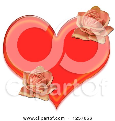 Clipart of a Red Heart and Pink Roses - Royalty Free Illustration by Prawny