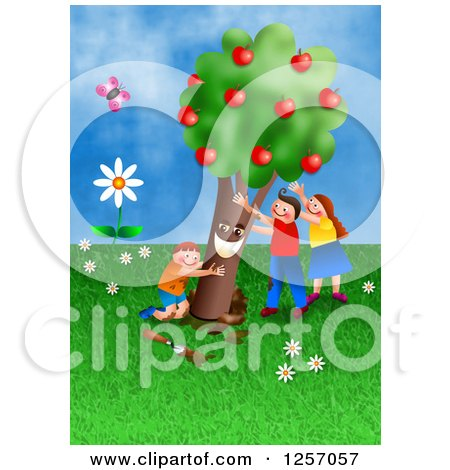 Clipart of Happy Caucasian Children Planting an Apple Tree - Royalty Free Illustration by Prawny
