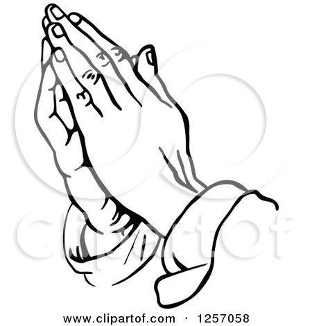 Clipart of Black and White Prayer Hands - Royalty Free Vector ...
