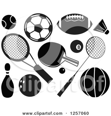 Clipart of Black and White Sports Accessories - Royalty Free Vector Illustration by Prawny