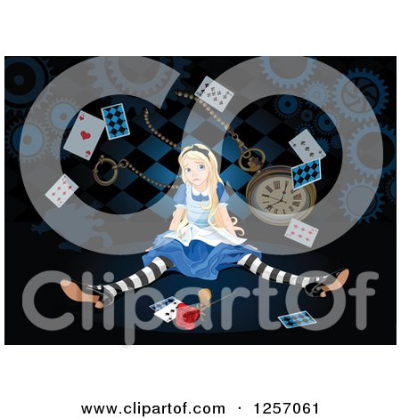 Clipart of Alice in Wonderland Shrinking, with Large Items - Royalty Free Vector Illustration by Pushkin