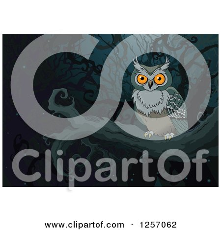 Clipart Of A Perched Owl In A Dark Forest Royalty Free Vector Illustration