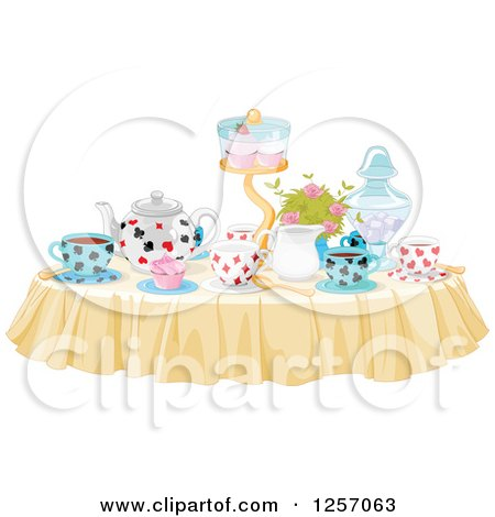 Table Set with Treats and Drinks for a Tea Party Posters, Art Prints