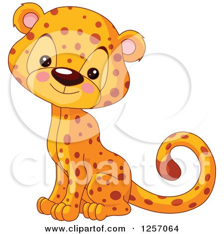 Clipart of a Cute Baby Cheetah Sitting - Royalty Free Vector Illustration by Pushkin