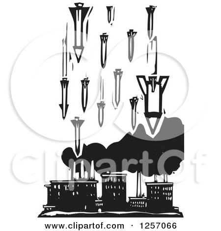 Clipart of a Black and White Woodcut Factory Being Bombed with Missiles - Royalty Free Vector Illustration by xunantunich