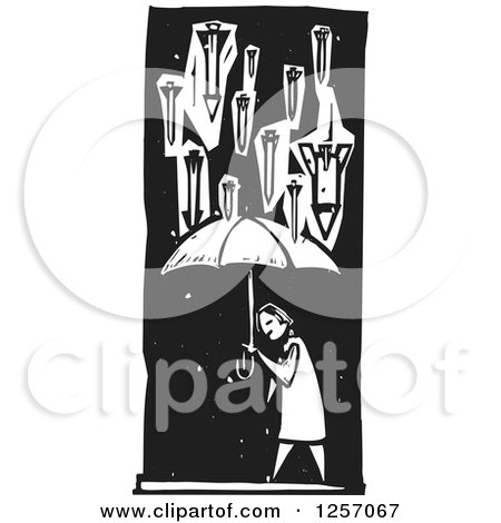 Clipart of Black and White Woodcut War Missiles Raining down a Civilian with an Umbrella - Royalty Free Vector Illustration by xunantunich