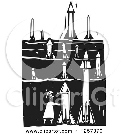 Clipart of a | Black and White Woodcut Terrorist Setting up Missiles in a Field| Royalty Free Vector Illustration Posters, Art Prints
