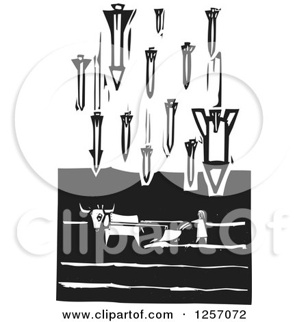 Clipart Of A Black And White Woodcut Plowing Farmer Being Bombed With Missiles Royalty Free Vector Illustration
