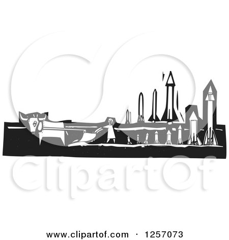 Clipart Of A Black And White Woodcut Plowing Farmer In A Field With Missiles Royalty Free Vector Illustration