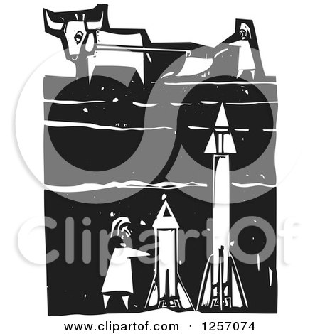 Clipart Of A Black And White Woodcut Plowing Farmer And Cow With Missiles Underground Royalty Free Vector Illustration