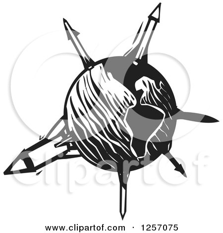 Clipart Of A Black And White Woodcut Planet Earth With Missiles Royalty Free Vector Illustration