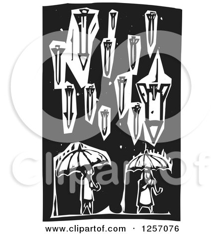Clipart Of Black And White Woodcut War Missiles Raining Down On Civilians With Umbrellas Royalty Free Vector Illustration