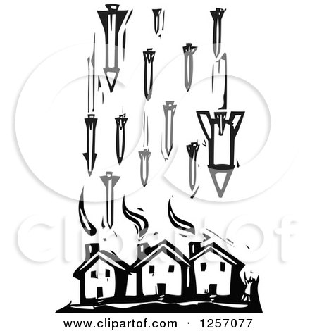 Clipart Of A Black And White Woodcut Civilian And Missiles Bombing Houses Royalty Free Vector Illustration