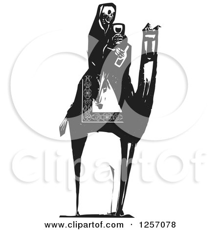Clipart of a Black and White Woodcut Death Skeleton Drinking Wine on a Camel - Royalty Free Vector Illustration by xunantunich