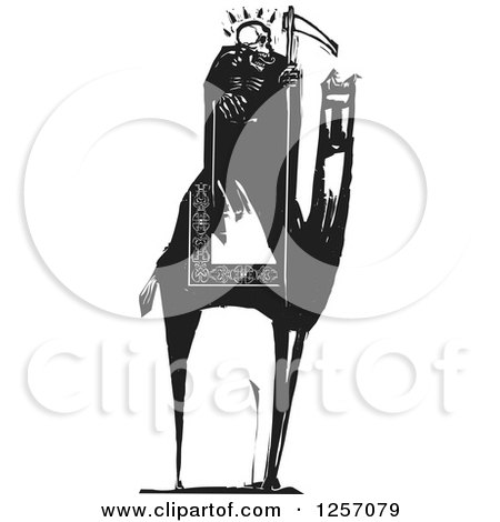 Clipart of a Black and White Woodcut Grim Reaper Skeleton Holding a Scythe on a Camel - Royalty Free Vector Illustration by xunantunich