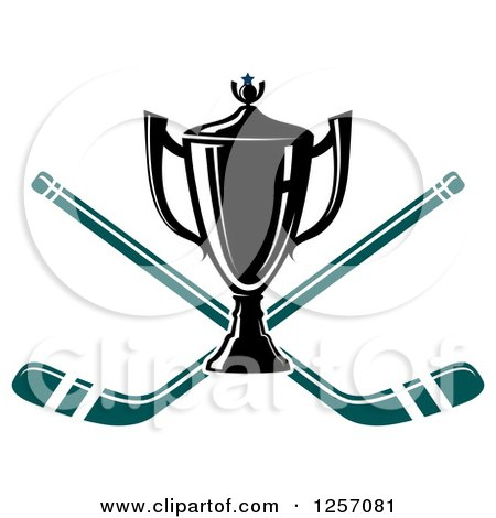 Clipart of a Trophy Cup over Crossed Hockey Sticks - Royalty Free Vector Illustration by Vector Tradition SM