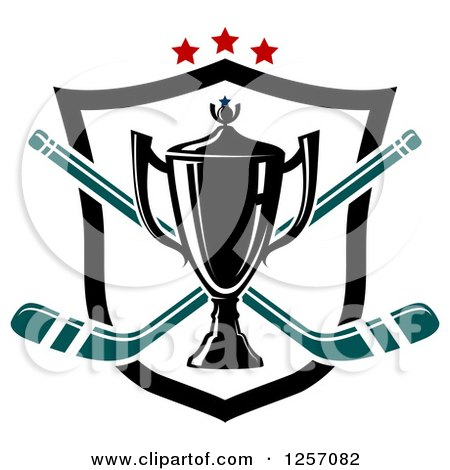 Clipart of a Trophy Cup over Crossed Hockey Sticks a Shield and Stars - Royalty Free Vector Illustration by Vector Tradition SM
