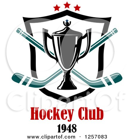 Clipart of a Trophy Cup over Crossed Hockey Sticks a Shield Stars and Text - Royalty Free Vector Illustration by Vector Tradition SM