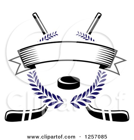 Clipart of a Blue Laurel Wreath with a Puck and Blank Banner over Crossed Hockey Sticks - Royalty Free Vector Illustration by Vector Tradition SM