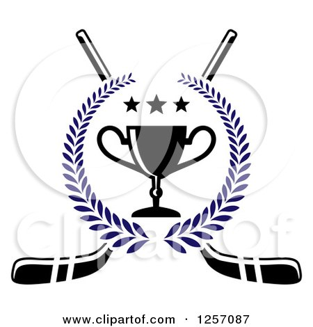Clipart of a Blue Laurel Wreath with a Trophy and Stars over Crossed Hockey Sticks - Royalty Free Vector Illustration by Vector Tradition SM