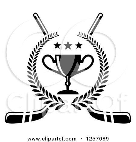 Clipart of a Black and White Laurel Wreath with a Trophy and Stars over Crossed Hockey Sticks - Royalty Free Vector Illustration by Vector Tradition SM