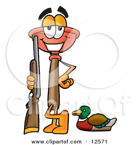 Clipart Picture of a Sink Plunger Mascot Cartoon Character Duck Hunting, Standing With a Rifle and Duck by Toons4Biz
