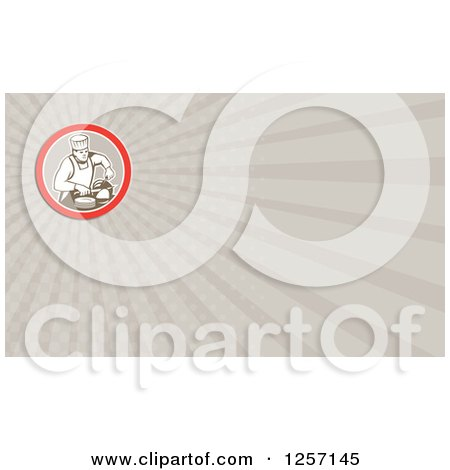 Clipart of a Retro Male Chef Carving Meat Business Card Design - Royalty Free Illustration by patrimonio