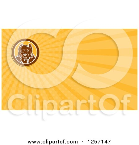 Clipart of a Woodcut Pitbull Dog Business Card Design - Royalty Free Illustration by patrimonio