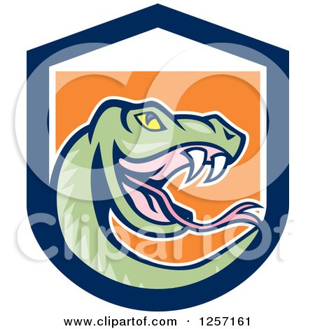 Clipart of a Cartoon Green Rattle Snake in a Blue White and Orange Shield - Royalty Free Vector Illustration by patrimonio
