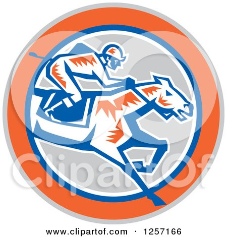 Clipart of a Retro Woodcut Jockey Racing a Horse in a Gray Orange Blue and White Circle - Royalty Free Vector Illustration by patrimonio