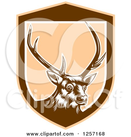 Clipart of a Retro Woodcut Deer in a Brown and Tan Shield - Royalty Free Vector Illustration by patrimonio