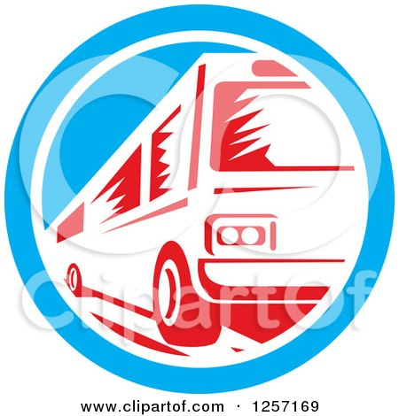 Clipart of a Retro Red Woodcut Bus in a Blue and White Circle - Royalty Free Vector Illustration by patrimonio
